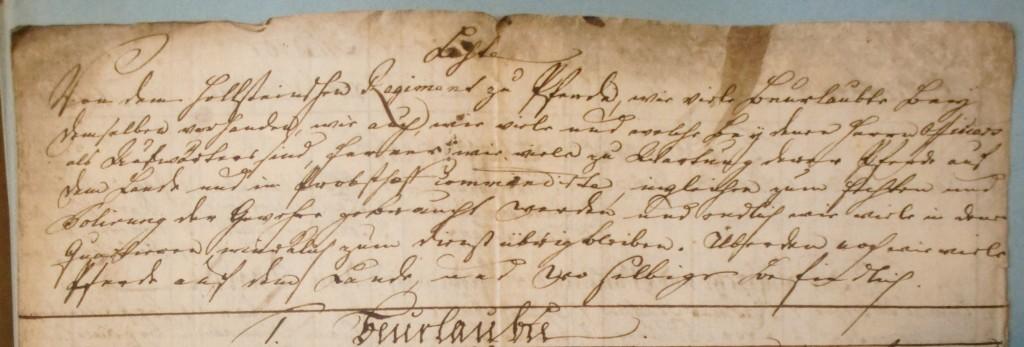Indledning af liste fra 1763 fra det holstenske lansenerregiment