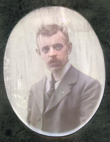 Farvelagt portrætbillede af Charles Friman Friberg Rasmussen