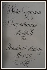 Titelblad for indkvarteringsmandtallet Københavns Vestre Kvarter 1730